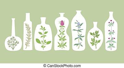 plantas aromáticas, e, garrafas