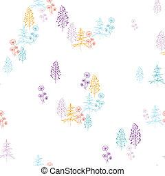 plantas, colorido, patrón, marco, seamless, plano de fondo, flores