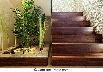 plantas, corredor, beleza