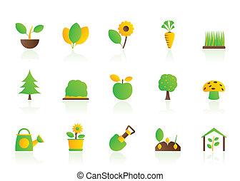 plantas, diferente, jardinería, icono