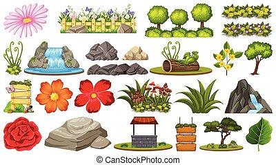 plantas, diferente, jogo, pedras