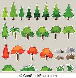 plantas, diferente, tipo