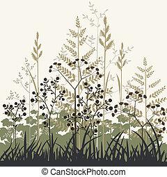 plantas, e, gramas, fundo
