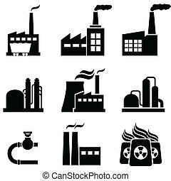 plantas, edifícios, industrial, poder, fábricas
