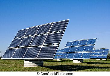 plantas, energía, solar