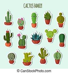 plantas, engraçado, jogo, jardim, cute, collection., feliz, vetorial, caras, cacto, adesivos, ou, remendos