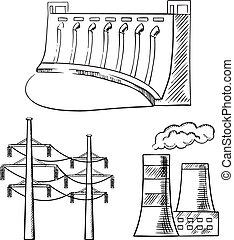 plantas, esboço, poder, ícones, torres, elétrico
