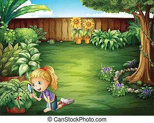 plantas, estudiar, niña, jardín