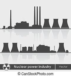plantas, Ilustración, potencia,  nuclear, silueta,  vector
