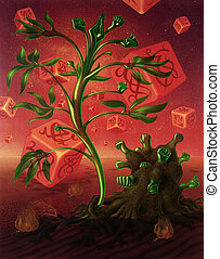 plantas, imagen, dados, surreal