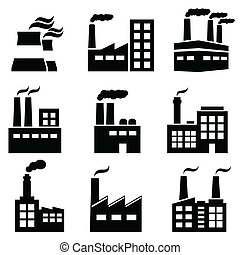 plantas, industrial, fábrica, poder, predios