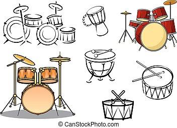 plantas, instrumentos, tambor, percusiion