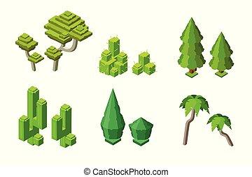 plantas, isometric, jogo, árvore, bush, vetorial, cacto