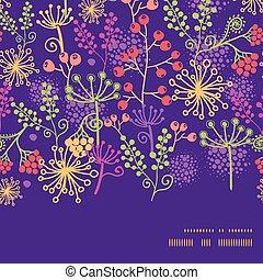 plantas, jardín, colorido, patrón, marco, seamless, vector, plano de fondo, horizontal