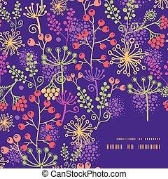 plantas, jardín, colorido, patrón, marco, vector, plano de fondo, esquina