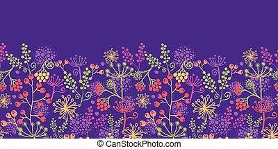 plantas, jardim, coloridos, padrão, seamless, fundo, horizontais, borda