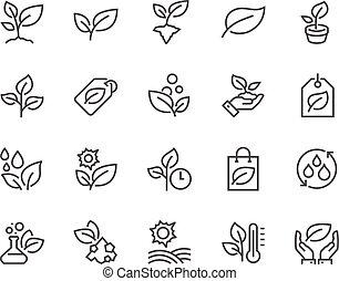 plantas, línea, iconos