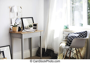 plantas, lar, moodboard, lugar, trabalhando