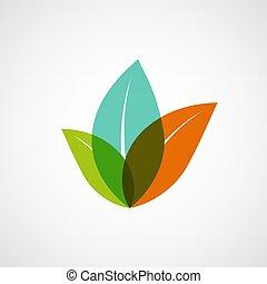 plantas, logotipo, leaves., coloridos