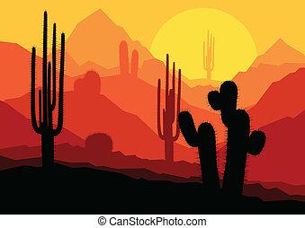 plantas, méxico, vetorial, pôr do sol, cacto, deserto