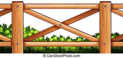 plantas, madeira, desenho, costas, cerca