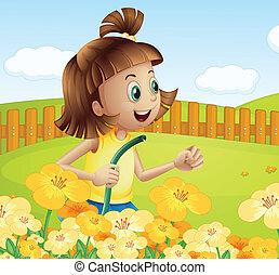 plantas, menina, aguando, jardim