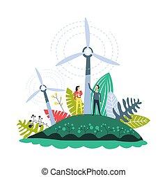 plantas, moinhos vento, jogo, energia, vetorial, plantações,...