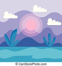plantas, montanhas, sol, nuvens, natureza