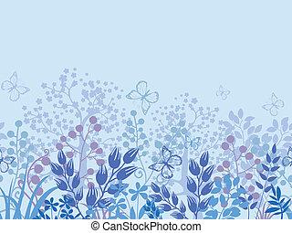 plantas, nebuloso, padrão, seamless, fundo, horizontais, borda