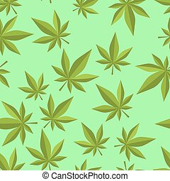 plantas, ornament., pattern., seamless, marijuana, ganja, ...