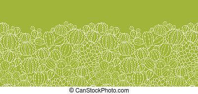 plantas, padrão, seamless, fundo, horizontais, cacto, borda