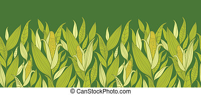 plantas, patrón, maíz, seamless, plano de fondo, horizontal,...