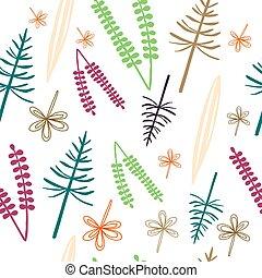 plantas, patrón, seamless, colorido