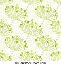 plantas, patrón, seamless, vector, fondo verde, geométrico, burbuja