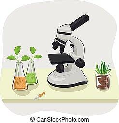 plantas, pipeta, microscopio, frascos, tabla, crecer, ...
