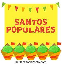plantas, português, santos, garland., festival, manjerico, populares, bunting, cartão