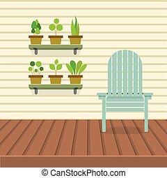 plantas, pote, cadeira, vazio, prateleiras
