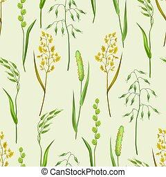 plantas, pradera, patrón, ornamento, seamless, hierbas, ...