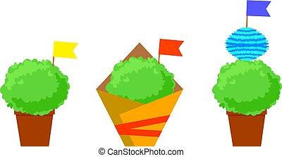 plantas, santos, festival, manjerico, isolado, símbolo., populares, flags.