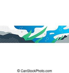 plantas, submarino, acuático, plano de fondo, ilustración,...