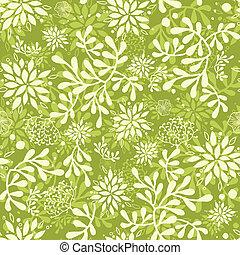 plantas, submarino, patrón, seamless, fondo verde