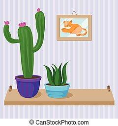 plantas, suculento, habitación, de madera, ollas, estante, elemento, vector, ilustración, interior, hogar, cacto