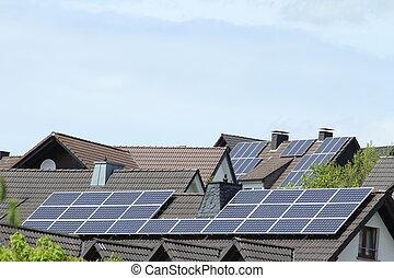 plantas, telhados, solar