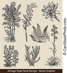 plantas, vector, conjunto, flor
