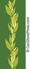 plantas, vertical, padrão, milho, seamless, fundo, borda