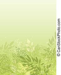 plantas, vertical, primavera, glowing, fundo, fresco