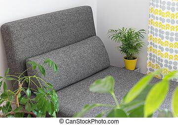 plantas, vivendo, longue, sala, chaise