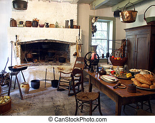 Kitchen in historic plantation home near New Orleans
