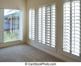 plantation, volet, blanc, bois, style
