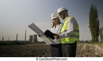 plante, énergique, puissance, compléter, travail, jeune, analyse, projeté, architecte, équipe, site, enquête, ingénieurs